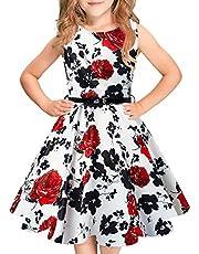 Idgreatim Mädchen Aermellos Vintage Kleid Rockabilly Blumendruck Swing Party Kleider