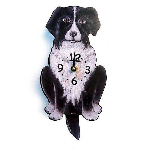 Swinging-Tail Pendulum Dog Clock - Border Collie - doggy wall clock