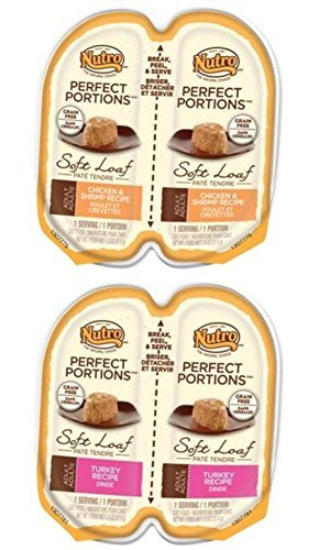 (Nutro Perfect Portions Grain Free Soft Loaf Cat Food 2 Flavor 8 Can Variety Bundle, (4) each: Chicken & Shrimp, Turkey - 2.6 ounces (8 Cans Total))
