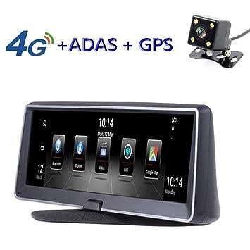 MrRong Dash CAM HD Dual Lens Navegación Conducción Grabadora Velocidad Perro electrónico, Coche Dvr 8 Pulgadas Dual Lente Cámara táctil, Delantera y Trasera ...
