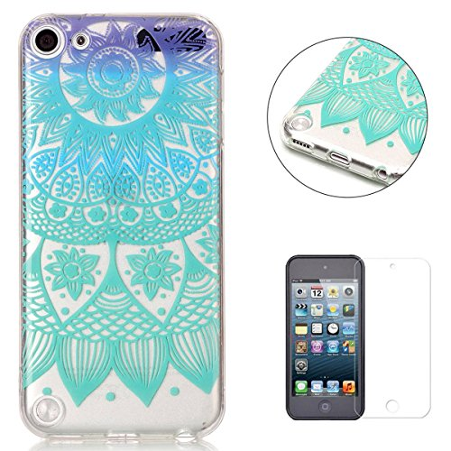 Black Free Ipod Touch - iPod Touch 5/6 Silicone Gel Case [with Free Screen Protector],KaseHom Crystal Clear Ultra Slim Soft Rubber Skin Flexible Bumper Shell Transparent TPU Protective Case Cover,Blue and Purple Mandala