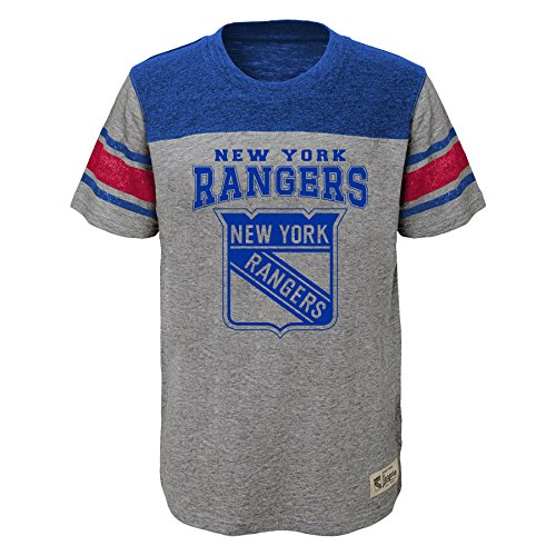 Outerstuff NHL New York Rangers Kids & Youth Boys Heritage Short Sleeve Tee, Medium(5-6), Heather Grey ()