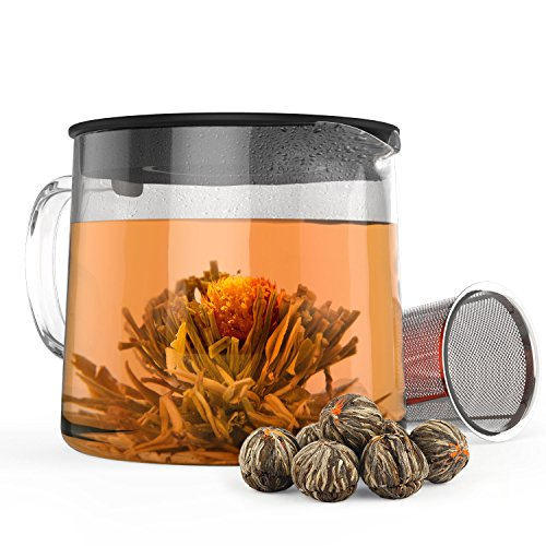 Removable Leaf - Blooming Tea Gift Set - Stovetop Safe Glass Teapot with 7 Flavored Organic Flowering Teas and Infuser - Includes Removable Filter for Loose Leaf Tea