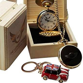 Mini Cooper S Gold Pocket Watch And Keyring Luxury Gift Set