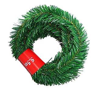 Hotalluyt 5,5 m di Pino di Natale Ghirlanda Decorativo Natale Verde Ghirlanda Artificiale Albero di Natale Rattan Banner Decoration 12 spesavip