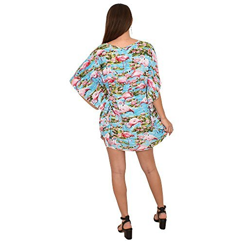 ISLAND STYLE CLOTHING Ladies Poncho Dress Blue Flamingo Floral Beach Cover, OS by ISLAND STYLE CLOTHING (Image #2)