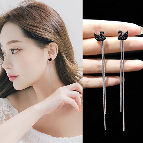 Famous New tassel earrings 925 needles hypoallergenic swan diamond earrings earrings real gold color retention