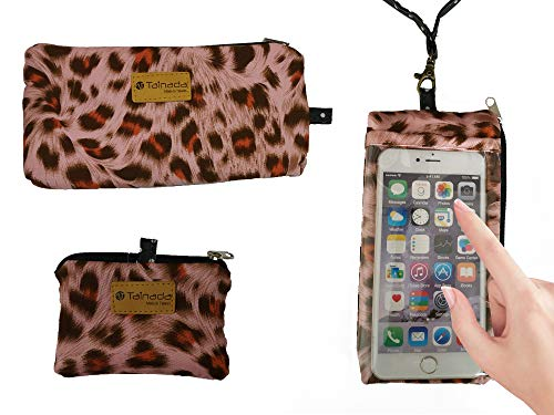 Tainada Smartphone Purse Pouch Bag with Clear View Window Touch Screen & Neck Strap Lanyard for iPhone Xs Max, XR, Samsung Galaxy S9 + Bonus ID Window Card Holder Coin Purse (Pink Leopard)