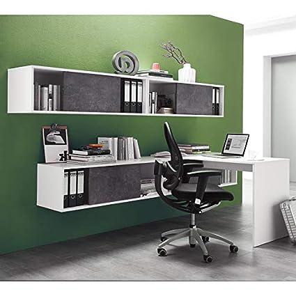 Juego de muebles oficina en color blanco basalto oscuro ...