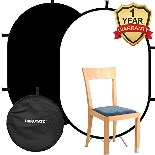 Background Collapsible (Hakutatz 3'x 5' Collapsible Reversible Chromakey Pop Out Muslin Black White Backdrop Background 2 in 1 Backdrop Panel Photography Photo Background Panel with Carrying Case)