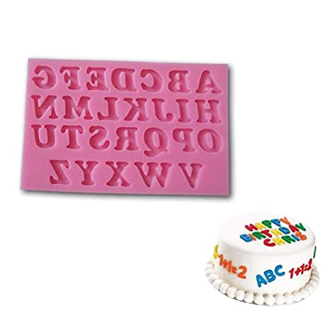 Hilai Molde de silicona para fondant, diseño de letras del alfabeto