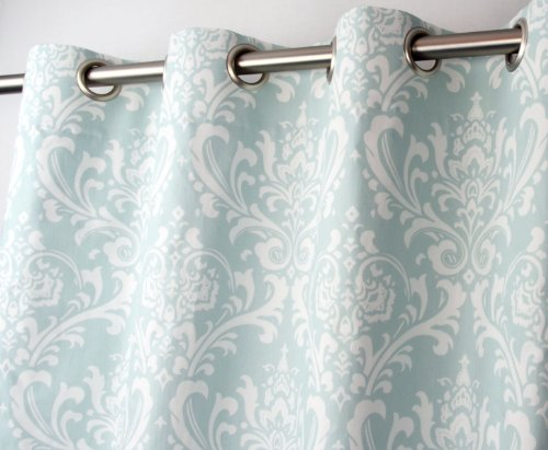 Powder Blue and White Damask Drape, One Grommet Top Curtain Panel 84 inches long x 50 inches wide