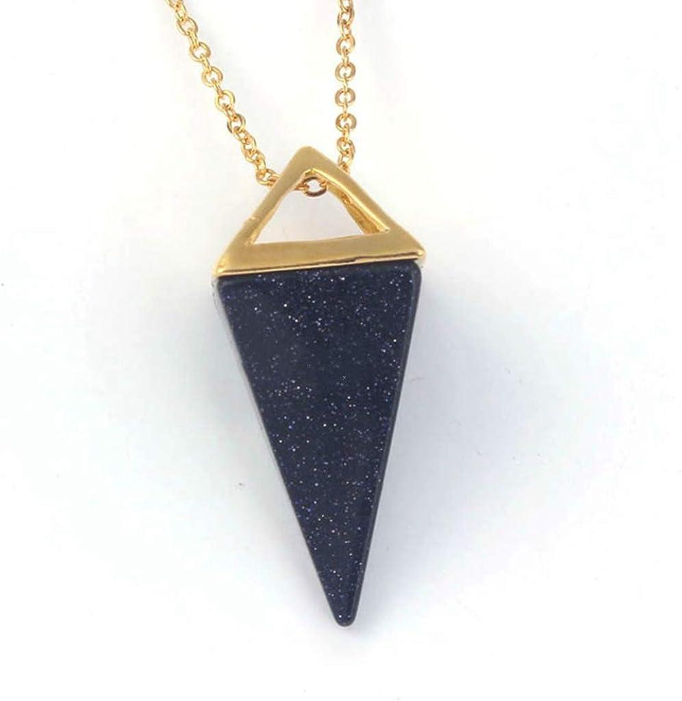 weikexiong Colgante de pirámide de Piedras Preciosas Naturales Curación Aura Cristal de Cuarzo en Collar de ágata Colgante para Mujeres Hombres Joyas