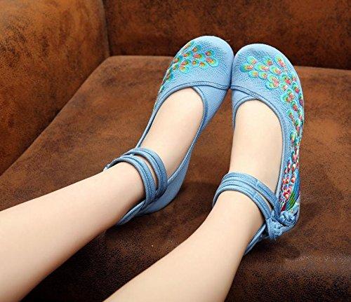 Ricamate Tendina Comodo A Da Moda Stile Suola Casual Etnico Blue Dell'aumento Donna Scarpe Desy All'interno Rxqw51fI