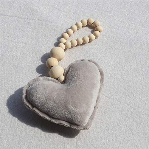 BBB&LIU Nordic Style Wooden Beads Room Decoration Ornament Star Heart Shape Kids Room Decoration Nursery Tent Wall Hanging Decor,Grey Heart
