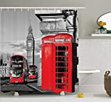dark grey curtains uk PAUSEBOLL London London Telephone Booth in The Street Traditional Local Cultural Icon England UK Retro Red Grey Shower Curtain Bathroom with Hooks,Mildew Resistant Waterproof Polyester Curtain