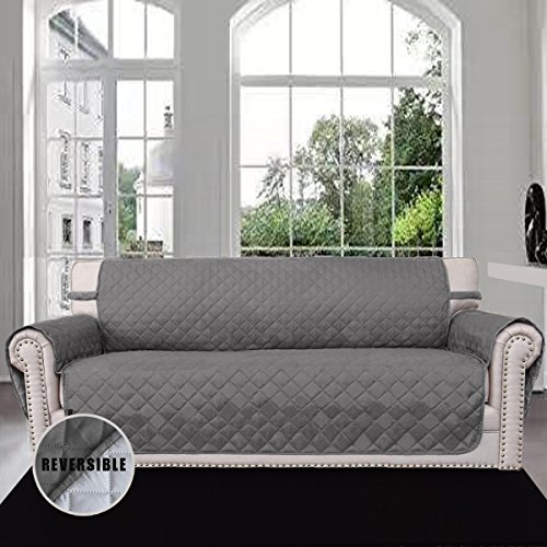Sofa Covers, Slipcovers, Reversible Quilted Furniture Protector, Improved Anti-Slip Cover with Elastic Strap and Foam, Micro Fabric Couch Shield, Pet Cover by Easy-Going(Sofa, Dark Gray/Light Gray) (Cover Furniture Pet)