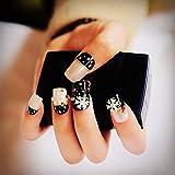 echiq 24pcs/set Pearl Nude Rosa Negro 3d uñas postizas Francés uñas postizas color blanco copo de nieve estrella…