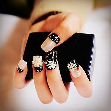 echiq 24pcs/set Pearl Nude Rosa Negro 3d uñas postizas Francés uñas postizas color blanco