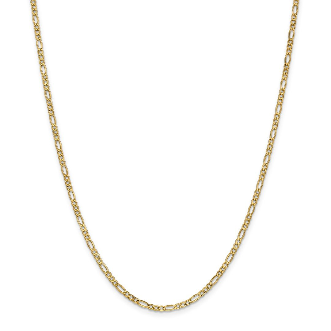 ICE CARATS 14k Yellow Gold 2.5mm Link Figaro Chain Necklace 18 Inch Fine Jewelry Gift Set For Women Heart