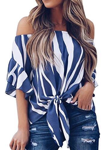 Shawhuwa Womens Off Shoulder Vertical Stripes Blouses Casual Chiffon Tops Blue M