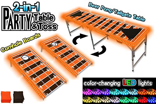 PartyPongTables.com 2-in-1 Cleveland Football Field with LED Lights 2-in-1 Cornhole Boards & Beer Pong Tailgate Table with Color-Changing LED Glow Lights - Cleveland Football Field