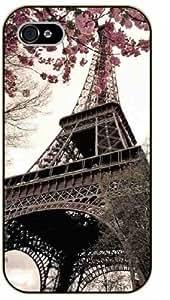 iPhone 4 / 4s Vintage floral, Eiffel Tower - black plastic case / Paris, France