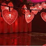 Cheap LAFEINA Solar Powered String Lights, 20ft 30 LED Solar Heart-Shaped String Lights Waterproof Ambiance Lighting for Indoor Outdoor Patio Garden Home Christmas Wedding Party Decoration (Red)