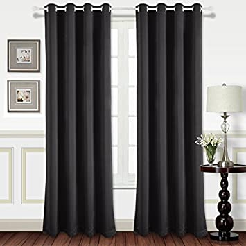 Best Dreamcity Room Darkening Curtain Panels 84u0026quot;   Light Reducing  Thermal Insulated Solid Grommet Blackout