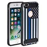 6 plus carbon case - iPhone 6 Plus case,Rossy [Carbon Fiber] Shockproof Hybrid Dual Layer Armor Defender Protective Case Cover with Hard Plastic and Soft Silicone Rubber for Apple iPhone 6 Plus,Thin Blue Line US Flag