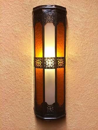 Marrakesch Rihana - Aplique de luz para pared, estilo oriental, color blanco y naranja