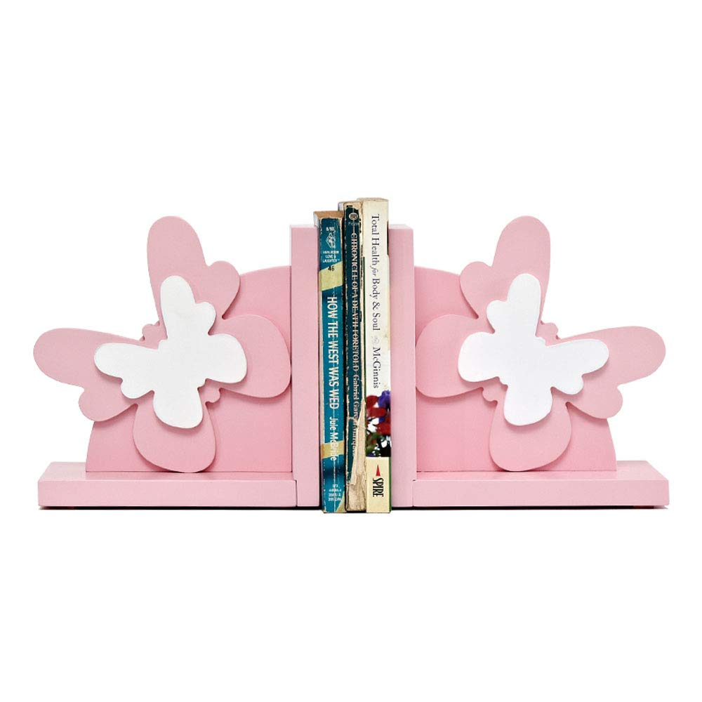 Wood Butterfly/Bunny/Rainbow Bookend Nursery Room Decorative Butterfly/Bunny/Rainbow Book Stand Baby Girl/Girls Gift Idea (Pink Butterfly)
