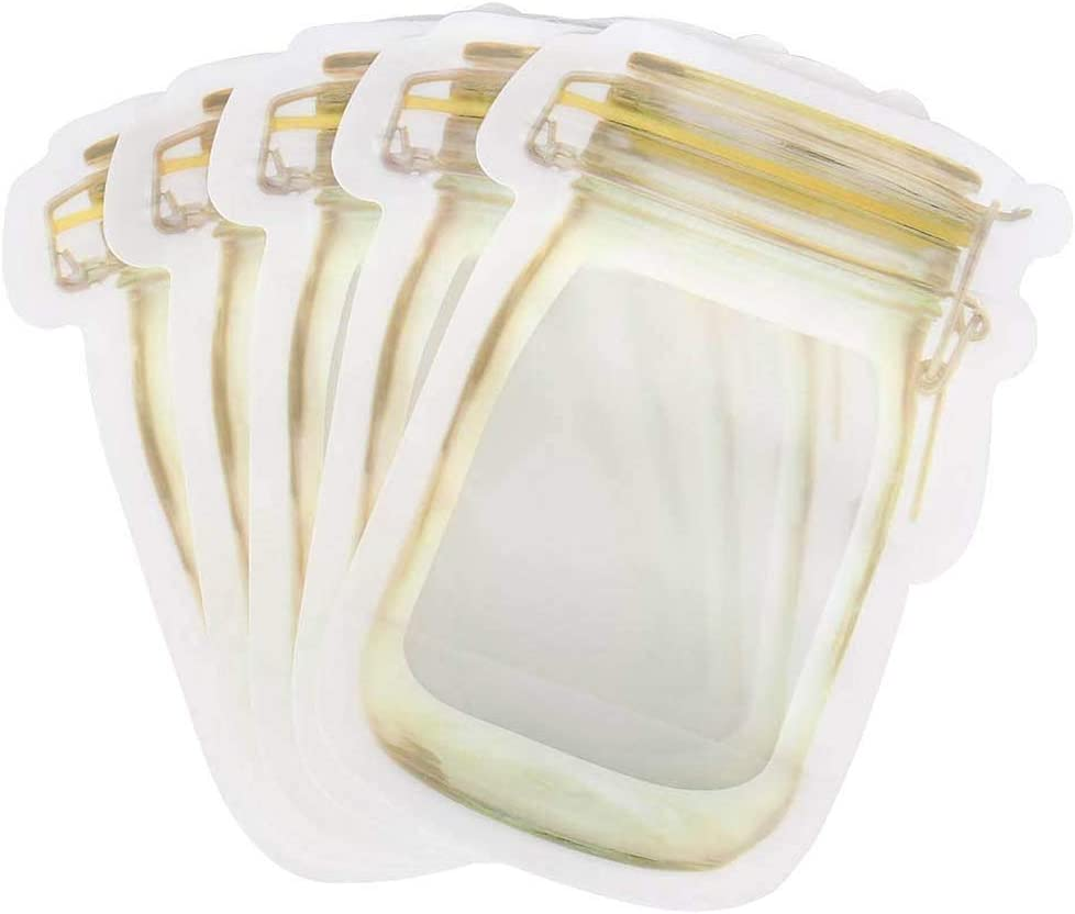 10Pcs Mason Jar Pattern Food Storage Bag Reusable Portable Stand Up Smell Proof Ziplock Bags Snack Saver Container Retail Package Bag Frosted Pouches Yellow 6×4.2in (15.7×10.5cm)