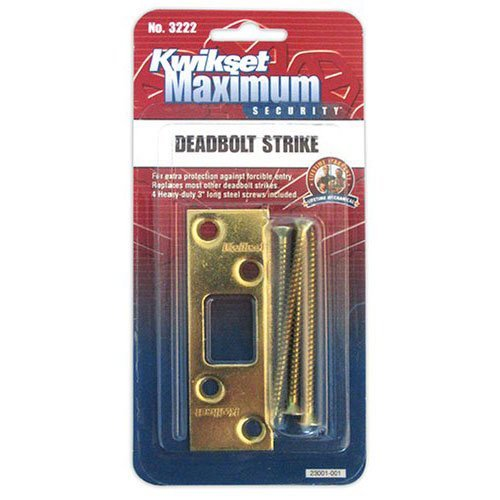 Brass Door Sweep - Kwikset Maximum Security Deadbolt Strike, Polished Brass #3222-01 3 CP