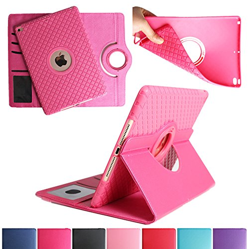 BoriYuan iPad 4&3&2 360 Degree Rotating Stand PU Leather Case Protective Flip Folio Detachable Soft Rubber Cover For Apple iPad 4/ iPad 3/ iPad 2 with Card Slot+Screen Protector+Stylus (Rose Red) Photo #1
