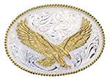 Montana Silversmiths Men's Silver Engraved Small Eagle Western Attitude Belt Multi One Size