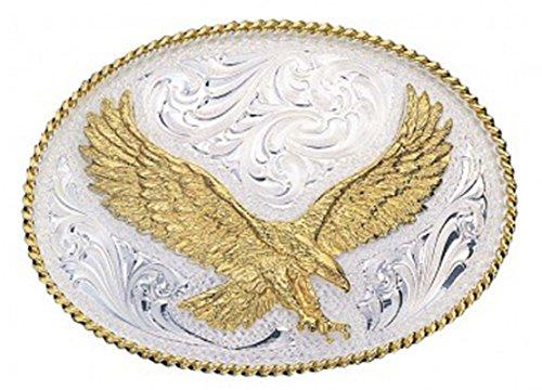Montana Silversmiths Men's Silver Engraved Small Eagle Western Attitude Belt Multi One Size by Montana Silversmiths