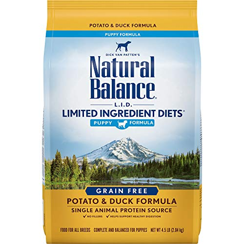 Natural Balance Puppy Formula L.I.D. Limited Ingredient Diets Dry Dog Food, Potato & Duck Formula, Grain Free, 4.5-Pound