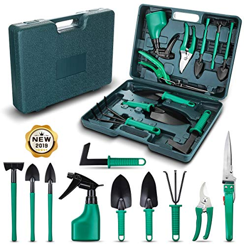 NASUM 10 Pieces Garden Tools Set - Gardening Gifts Tool Set with Trowel Pruner, Rakes, Shovels, Secateurs, Weeding Knife and more, Vegetable Herb Garden Hand Tools, Gifts for Women and Man - Rake Set