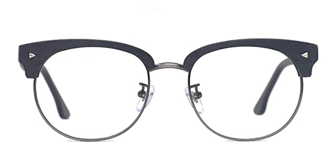 Amazon.com: TIJN Woodgrain Clubmaster Eyeglasses Frame Faux Wooden ...