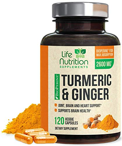 Turmeric Curcumin 95% Standardized with Ginger and BioPerine 2600mg - Black Pepper for High Absorption, Made in USA, Vegan Joint Support, Turmeric Ginger Supplement Caps - 120 Capsules