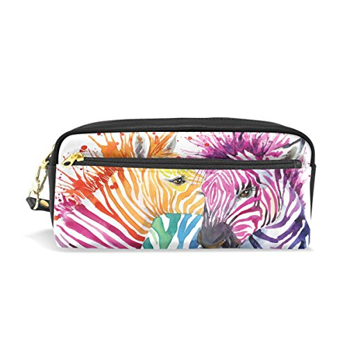 Naanle Rainbow Zebra Fashion PU Leather Small Zipper Makeup