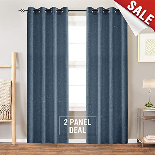 jinchan Linen Curtains for Living Room Drapes Flax Window Curtain Panels for Bedroom (1 Pair 84