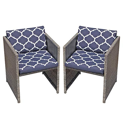 OC Orange-Casual Patio Porch Furniture Set 2 Piece Wicker Rattan Chairs Set with Cushion Armchair Bistro Set | Space Saving, Grey & Navy Blue (Gray Wicker Chairs)