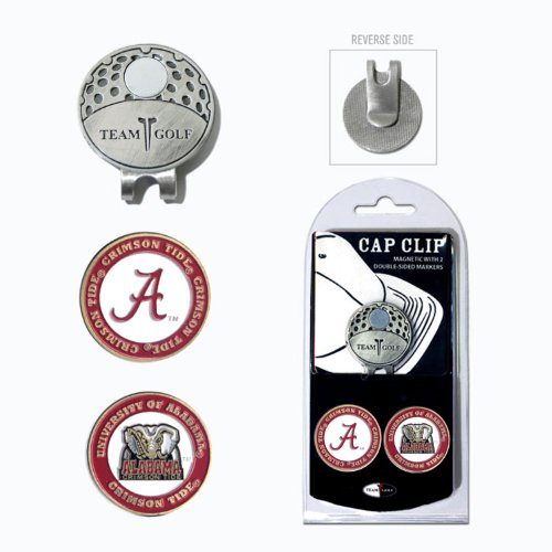 NCAA Alabama Crimson Tide Cap Clip With 2 Golf Ball Markers (Cap Alabama)