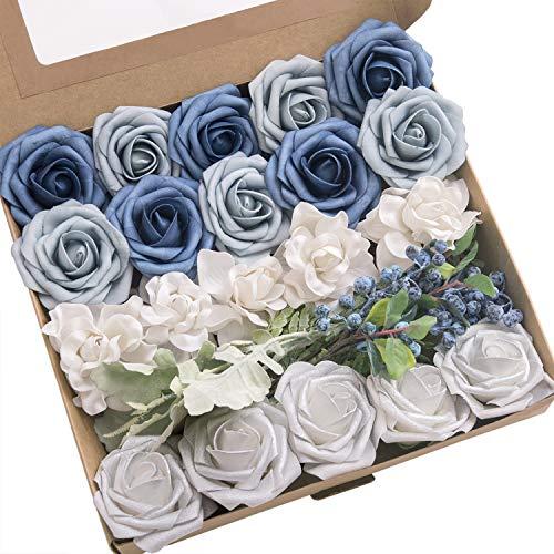 Ling's moment Artificial Flowers Combo Realistic Fake Roses with Stem for DIY Wedding Bouquets Centerpieces Floral Arrangements Decorations (Bon Voyage Blue) ()