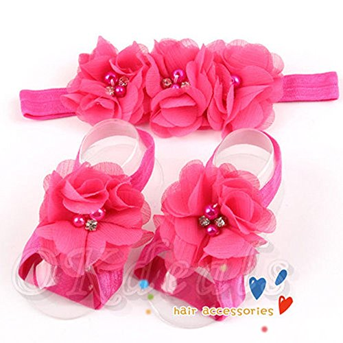 Bloom Kids Shoes (Gaomadee Colourful New Cute Shoes Infants Sock Accessories Hairband Girl Headband+Flower Barefoot Sandals Toe Blooms)
