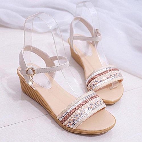 La Sra pendiente con sandalias de punta abierta lentejuelas sandalias de la hebilla del diamante artificial meters white
