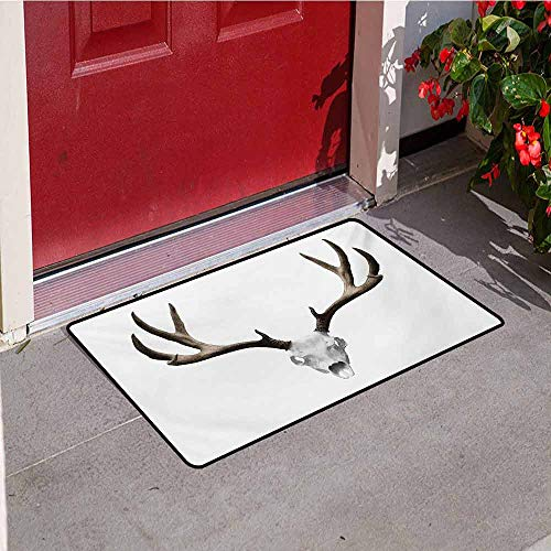 Jinguizi Antlers Front Door mat Carpet A Deer Skull Skeleton Head Bone Halloween Weathered Hunter Collection Machine Washable Door mat W47.2 x L60 Inch Warm Taupe Pale Grey -