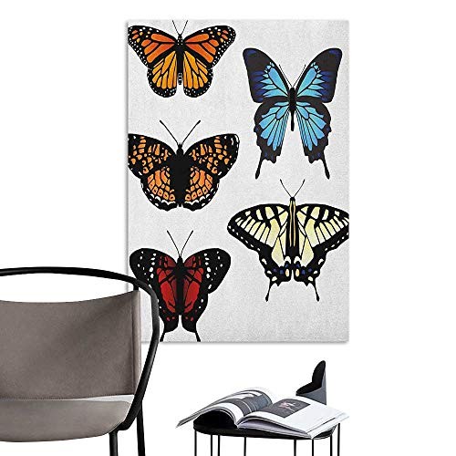 Jaydevn Home Decor Decals Mural Swallowtail Butterfly Five Different Butterflies Colorful Monarch Lady Insect Wings Spring Multicolor Bedroom Wall W20 x H28